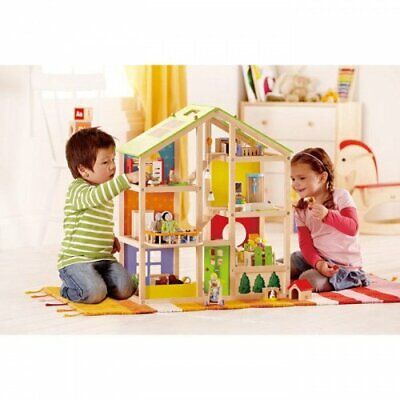 Hape All Seasons Dolls House Fully Furnished Wooden Three Storeys