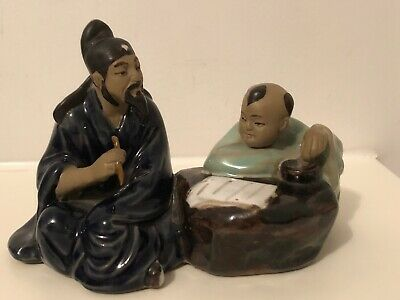 Rare Vintage Chinese Shiwan Mudman Figure Pair Of Men Reading/Writing Scroll Vgc