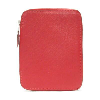 HERMES Vision Zip Agenda Cover Notebook Cover Red Leather