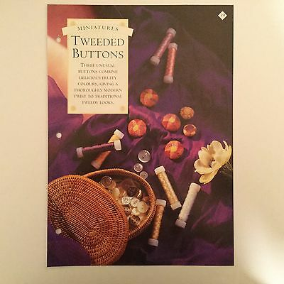 Needlework pattern: Tweeded buttons mini tapestry design and instructions