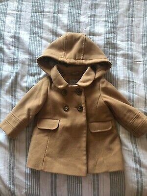 Next Baby Girls Camel Wool Look Smart Hooded Coat Age: 6-9 Months