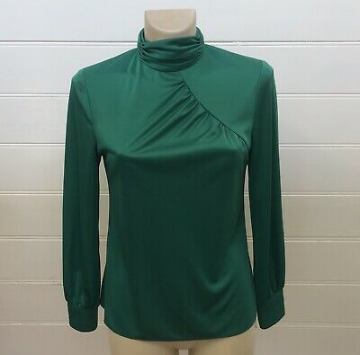 VINTAGE 70's EMERALD GREEN SILKY LONG SLEEVE SHIRT TOP