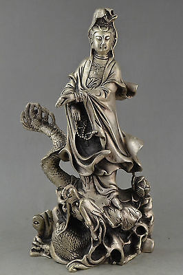 Collection Old China Tibet Silver Dragon Statue Carved Guanyin Bodhisattva