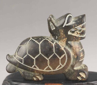 Old Chinese natural jade hand-carved dragon turtle