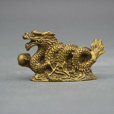 Chinese old Bronze Copper Stand Year Zodiac Dragon Exquisite Statue