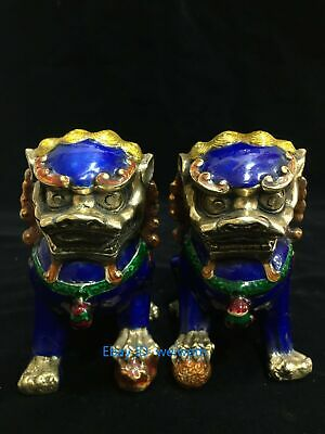 A Pair Old Chinese Hand Made Cloisonne Copper Lion Foo Dog Statue