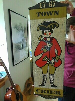 Vintage wooden TOWN CRIER Sign George Nathan Associates Inc. 1767 tavern decor