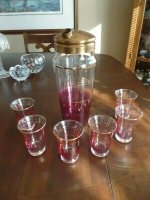 West Virginia Glass - Cocktail Martini w/ 1 Shaker & 6 Glasses - Cranberry/Gold