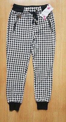 Black And White Houndstooth Jogging Bottoms Age 10