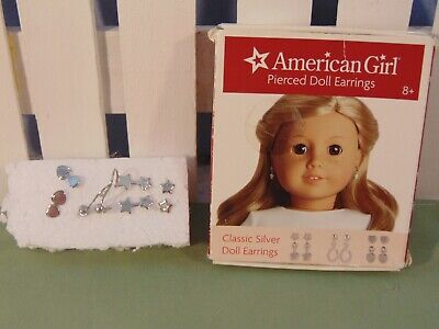 American Girl Retired Silver Classic Earrings Box EUC Complete set plus extras