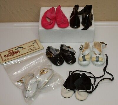 "Lot of 6 Pairs Faux Leather Doll Shoes & Slippers 1 1/2"" Long For Small Dolls"