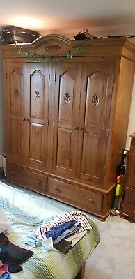 Solid Antique Pine Wardrobes And Chest Of Drawers
