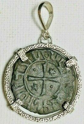 Ancient Coins of the Crusades Roman Bronze Coin Sterling Silver Pendant #12