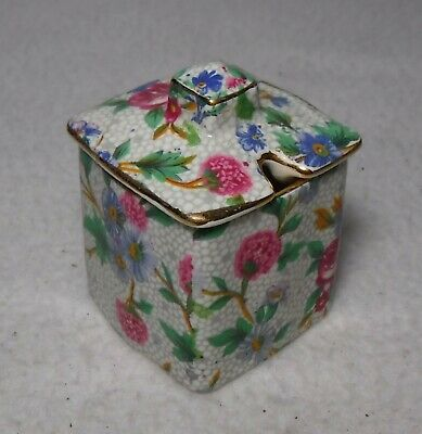 ROYAL WINTON china OLD COTTAGE CHINTZ pattern Square Mustard Jar with Lid
