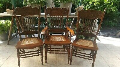 Set of SIX American spindle back chairs.