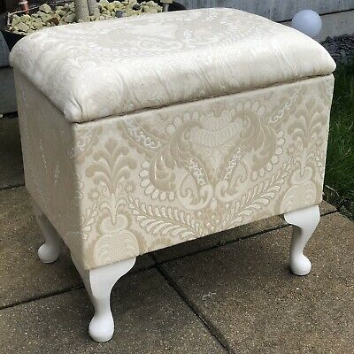 Cream Damask Flock Print Queen Anne Style Storage Footstool Small Ottoman Box