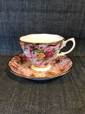 royal albert old country roses cup & saucer ruby celebration