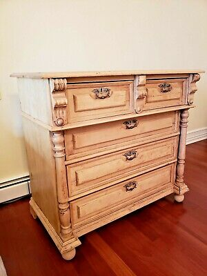 ANTIQUE Pine 5 DRAWERS CHEST/ Armoire / CUPBOARD 42 x 23 x 38