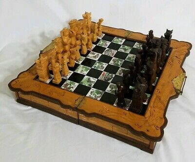 "Antique Oriental Asian Chess Set with Hand Carved Wood Pieces Chinese 5"" King"