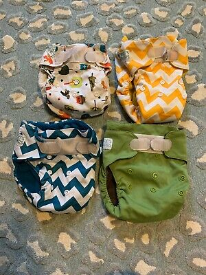 Nicki's Diapers  LOT of 4 Hook And Loop - AIO bamboo, Pocket