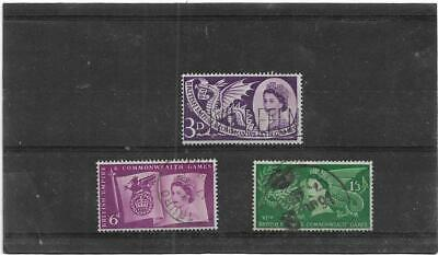 British Stamps 1958 Empire and Commonwealth Games,Cardiff Used Set SG.567-569 GB