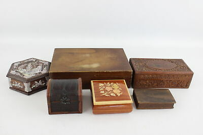 6 Vintage Trinket / Jewellery WOODEN BOXES Inc Barrel, Mother Of Pearl Inlay Etc