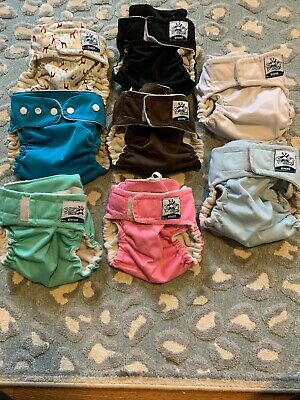 Softbums Omni Pocket Cloth Diaper Lot 8 Giraffe Solid Snaps Hook And Loop