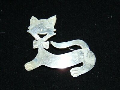 Sterling Silver signed 925 MEXICO TM-180 CAT KITTY BROOCH