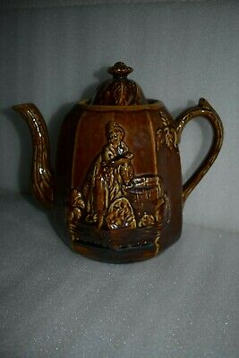 BENNINGTON Teapot Rebecca at the Well Yellow Ware Rockingham Brown Glaze Vintage