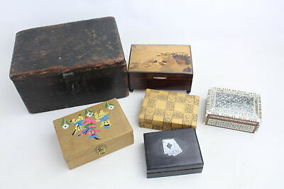 6 Vintage Trinket / Jewellery WOODEN BOXES Inc Carved, Musical WORKING, Inlay