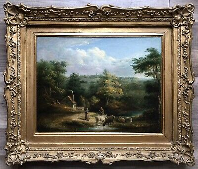 Early 19th Century English School Oil Painting On Canvas Unsigned Gilt Frame