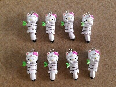 Lot of 8 Hello Kitty Sanrio White Fox Moveable Charms for Necklace Cell Phone