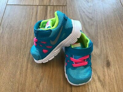 Brand New Girls Nike Blue With Pink Lace Trainers  Size Uk 2.5
