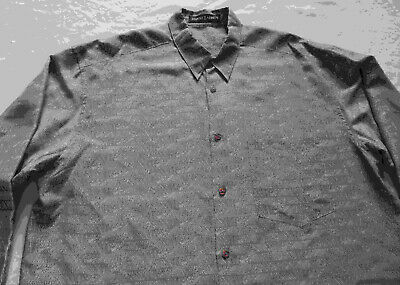 Jhane Barnes Pure Silk Gray Gold Geometric Long Sleeve Button Shirt - Large Mens