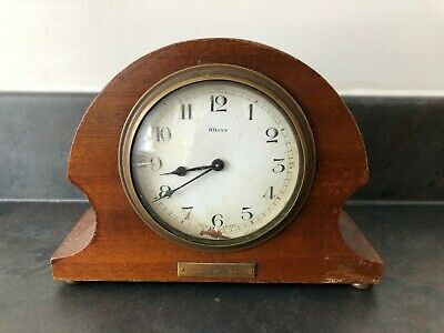 Antique 1929 Dated Wooden 8 Day Mantel Clock Made In France With Key #392
