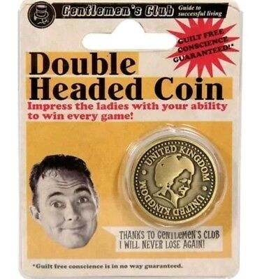 1 x Double headed coin joke novelty prank gag xmas secret santa gift