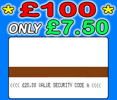 Ampy Cards £100 Value Only £7.50 - Security Code A - SAME DAY DISPATCH