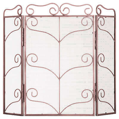 Large Copper Finish Ornate Fire Screen - Open Fire Safety Guard