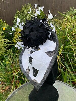 Bespoke Black & White Hatinator With Feather Flowers