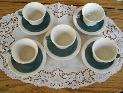 Vintage Syracuse China O.P.CO Old Ivory GREEN Demitasse Cups & Saucers~Set of 5