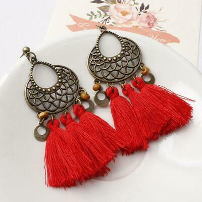 Women Vintage Bohemia Tassel Dangle Earrings Bollywood Indian Jewelry Gift T