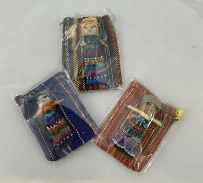3 X Large WORRY DOLL In Textile Bag - Handmade In Guatemala