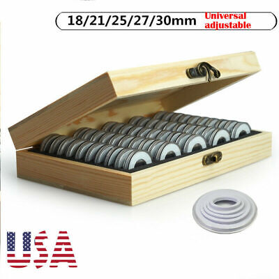 Wooden Coins Display Storage Box Case for Collectible Coin Capsules 50Pcs HOT