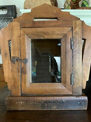Smaller Antique Primitive Folk Art Wood Hanging Wall Box for Watch or Display