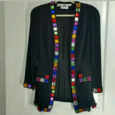 Niteline black jeweled blazer jacket 8 womens vintage art stoned multicolored