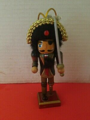 "5"" Wooden Pirate Nutcracker Christmas /Holiday Ornament Vintage"