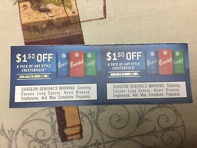 Lot Of 2 Chesterfield Coupons, $1.50 Each Off A Pack cigarettes Expire 5/31/2020