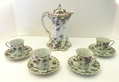 Antique Nippon Hand Painted Chocolate Pot Set Purple Violets Gold Beaded Moriage