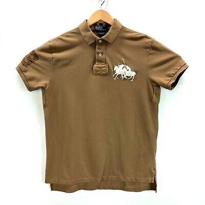 Polo Ralph Lauren Men's Custom Fit Brown Big Pony 3 Vented Polo Shirt Size Large