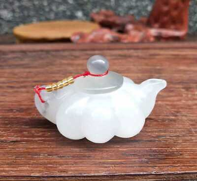 Chinese Natural HeTian Jade Hand-Carved Statue Teapot Flagon Exquisite 009
